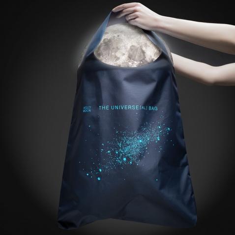 Pirkinių krepšys su šviesą atspindinčia VISATA
