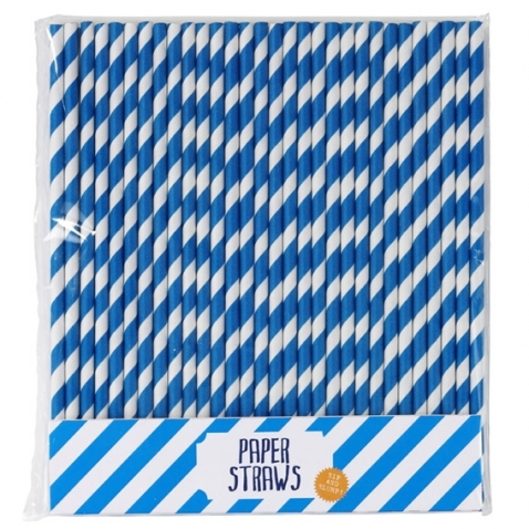 Blue Paper Straws, 30pcs.